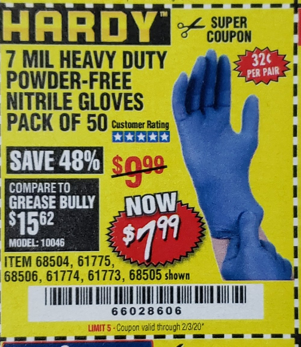 Harbor Freight Coupon, HF Coupons - 7 Mil Heavy Duty Powder-free Nitrile Gloves Pack Of 50