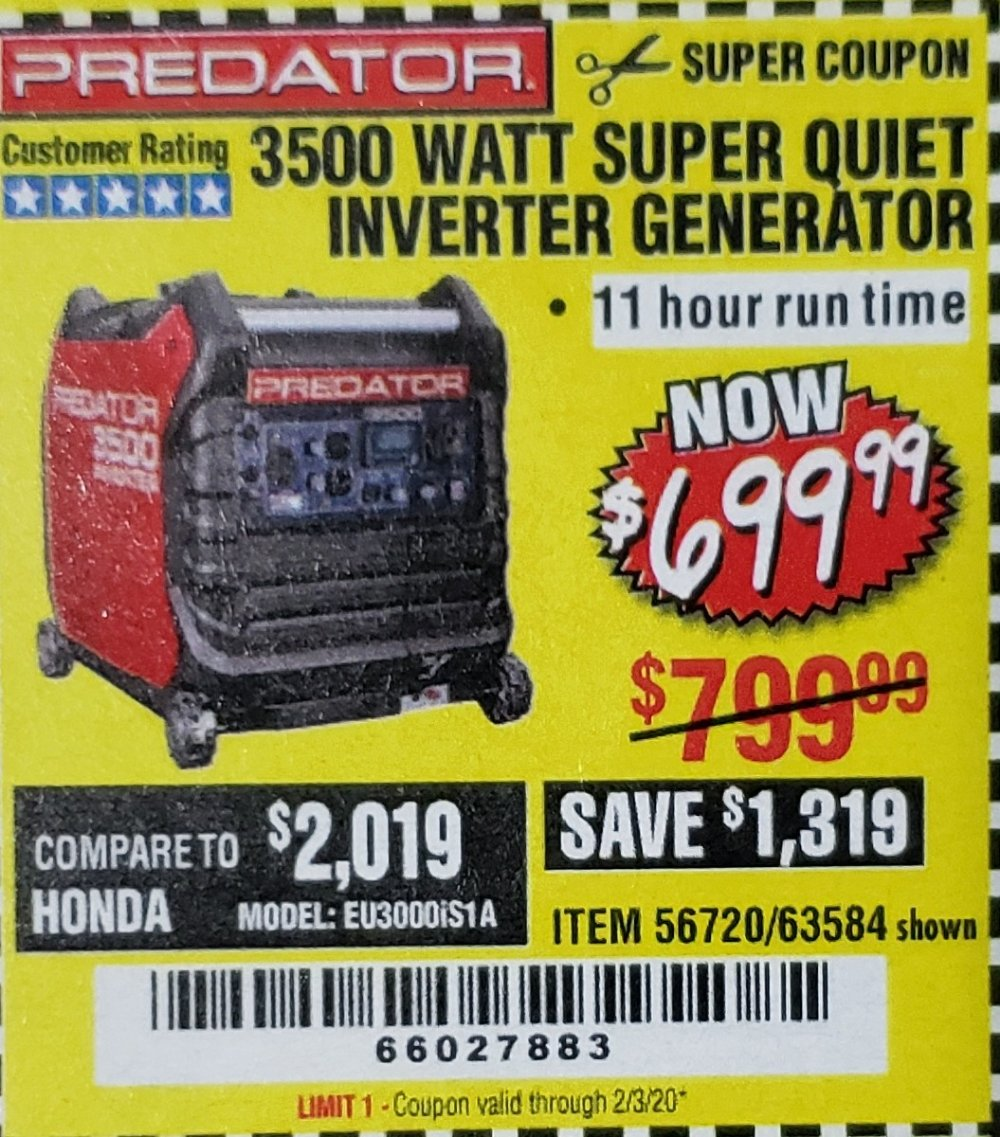 Harbor Freight Coupon, HF Coupons - Predator 3500 Watt Super Quiet Inverter Generator
