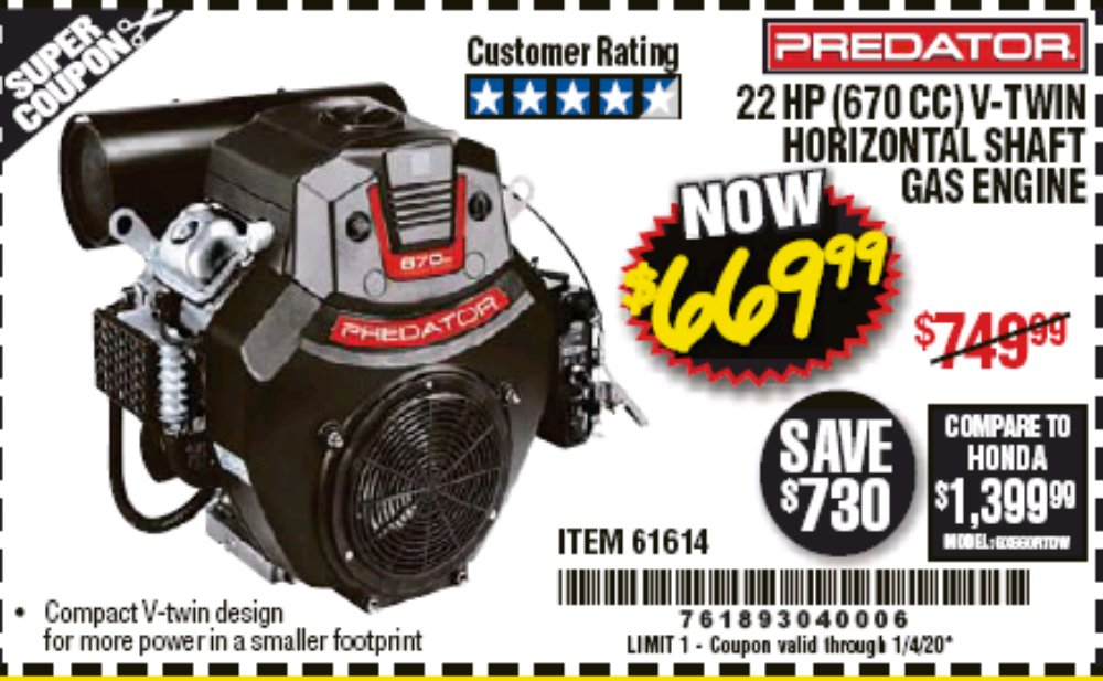 Harbor Freight Coupon, HF Coupons - 22 Hp V-twin Gas Engines - 670 Cc Horizontal Shaft Or 708 Cc Vertical Shaft