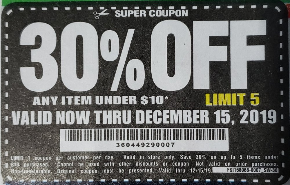 Harbor Freight Coupon, HF Coupons - 30% off for under  $10 item