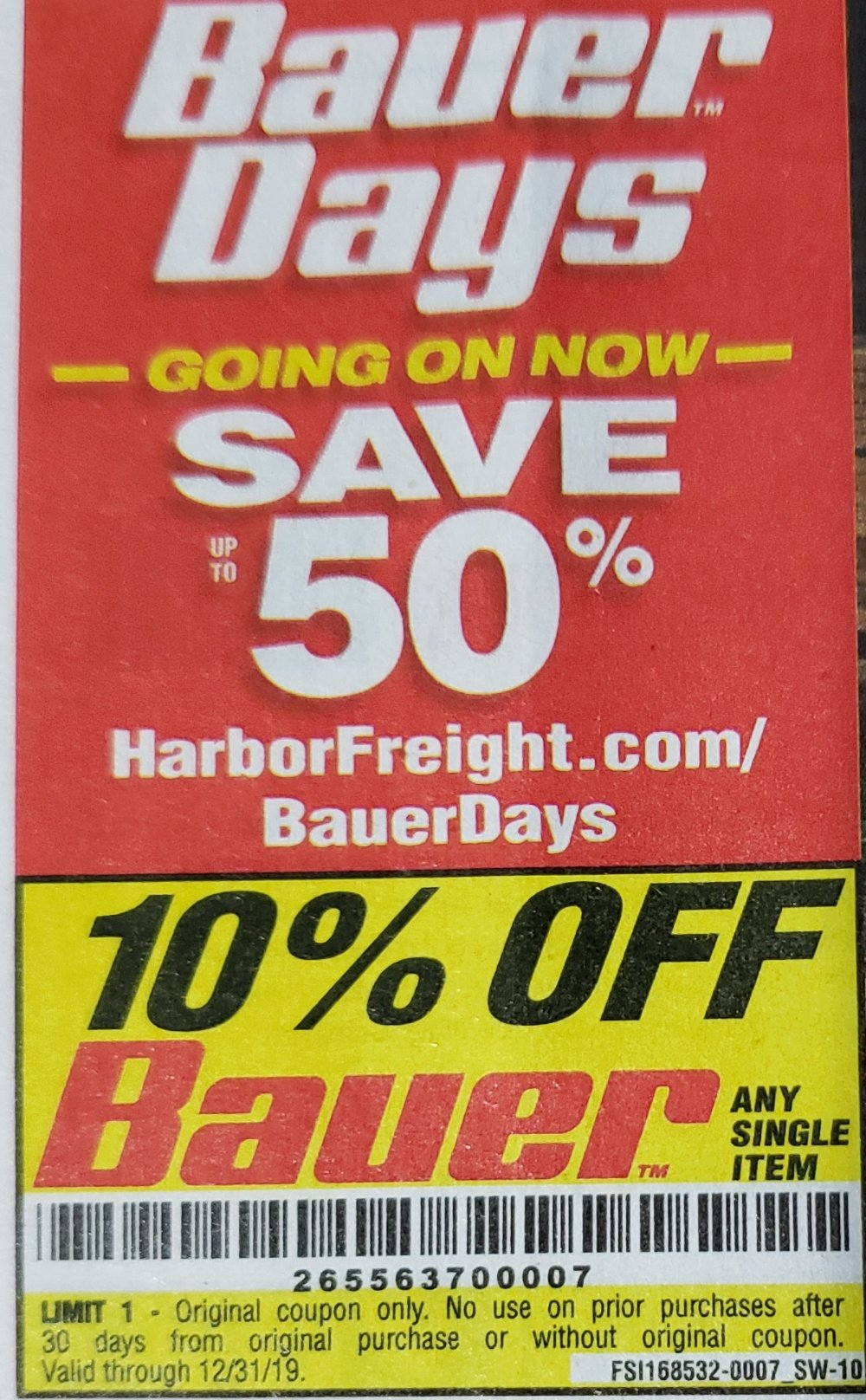 Harbor Freight Coupon, HF Coupons - 10% off for any Bauer product