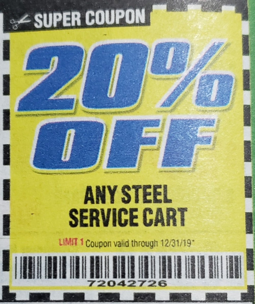 Harbor Freight Coupon, HF Coupons - 20% off for any steel service cart