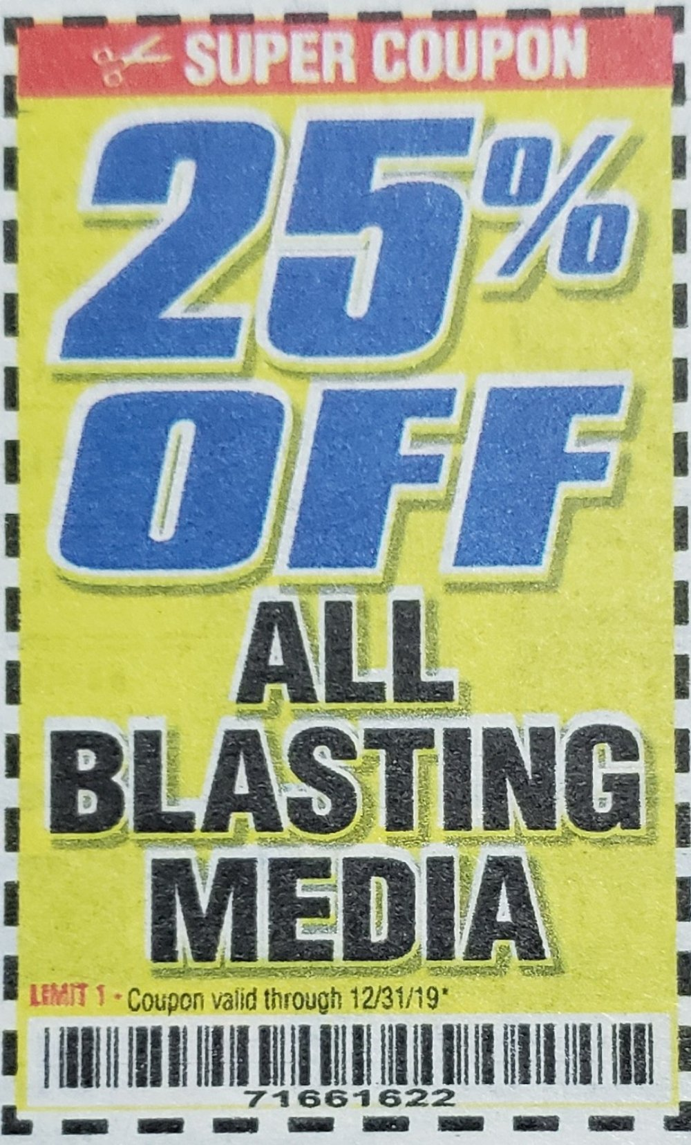 Harbor Freight Coupon, HF Coupons - 25% off for all BLASTING MEDIA