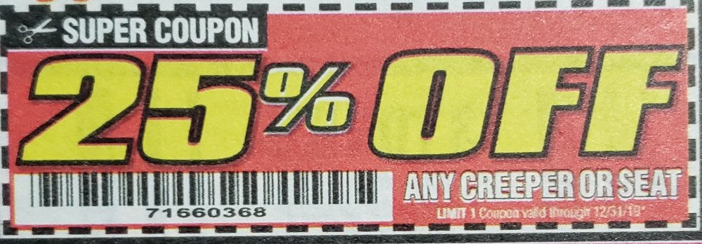 Harbor Freight Coupon, HF Coupons - 25% for any CREEPER OR SEAT