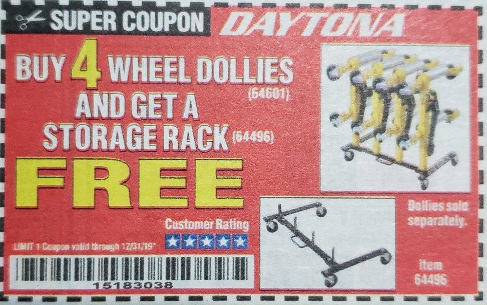 Harbor Freight Coupon, HF Coupons - Daytona Wheel Dolly Storage Rack
