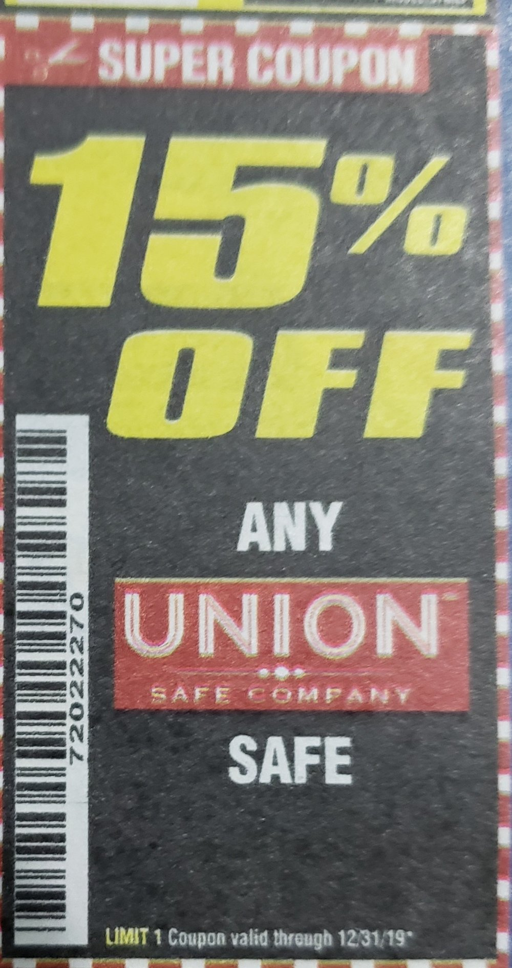 Harbor Freight Coupon, HF Coupons - 15% off for ANY UNION SAFT
