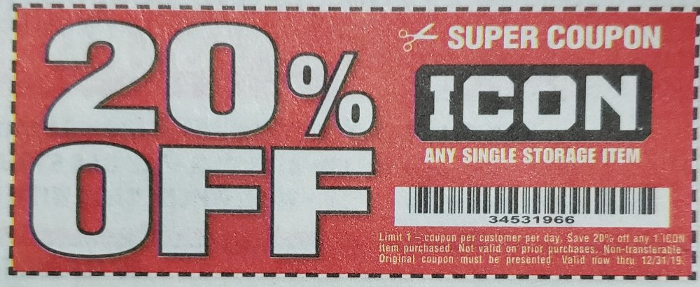 Harbor Freight Coupon, HF Coupons - 20% off for any ICON storage item