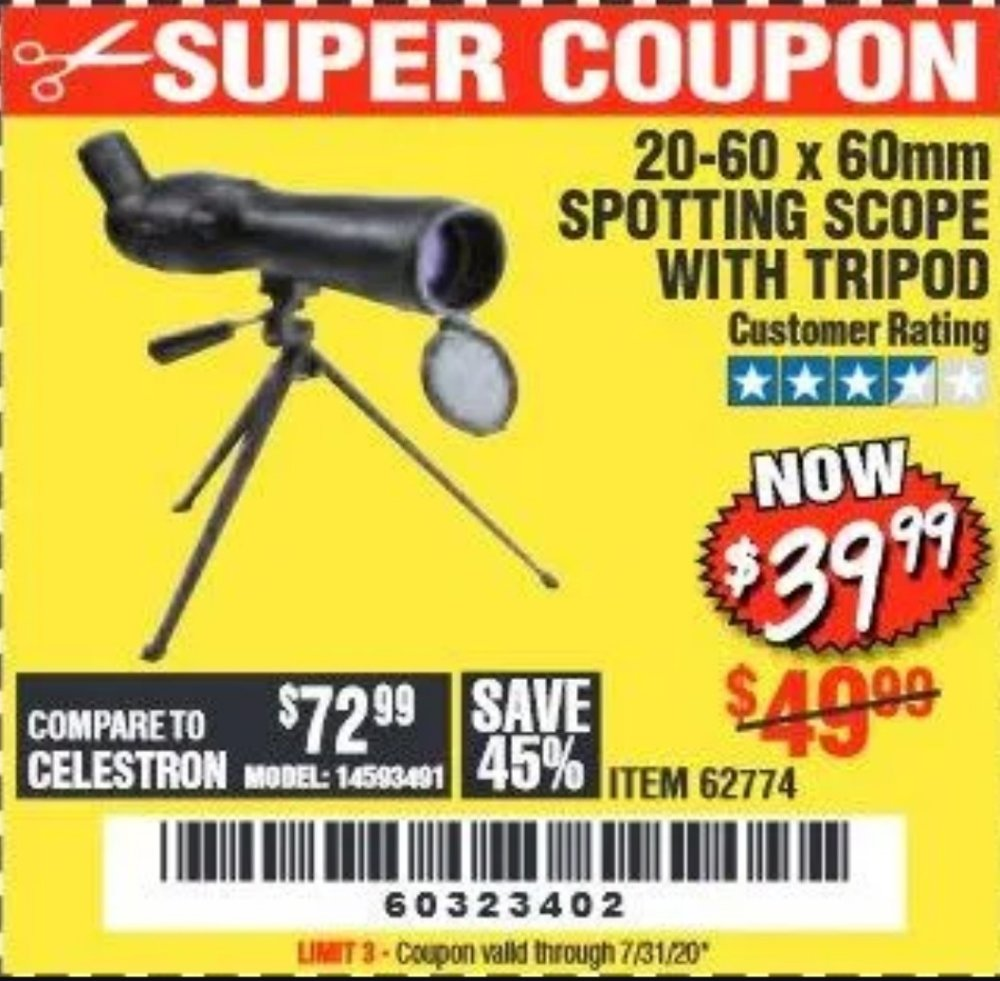 Harbor Freight Coupon, HF Coupons - 20-60 X 60mm Spotting Scope With Tripod