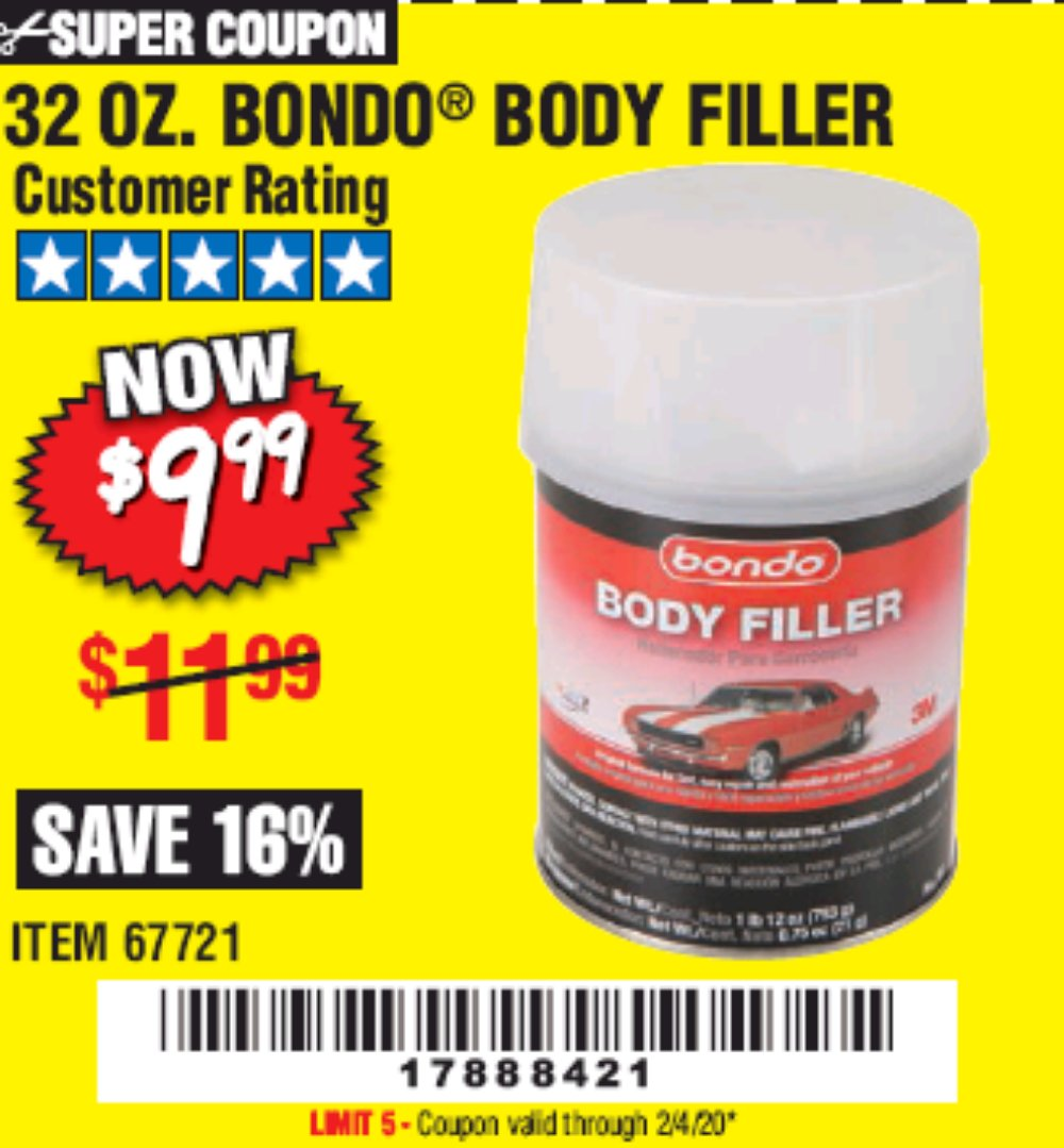 Harbor Freight Coupon, HF Coupons - 1 Quart Bondo Lightweight Body Filler