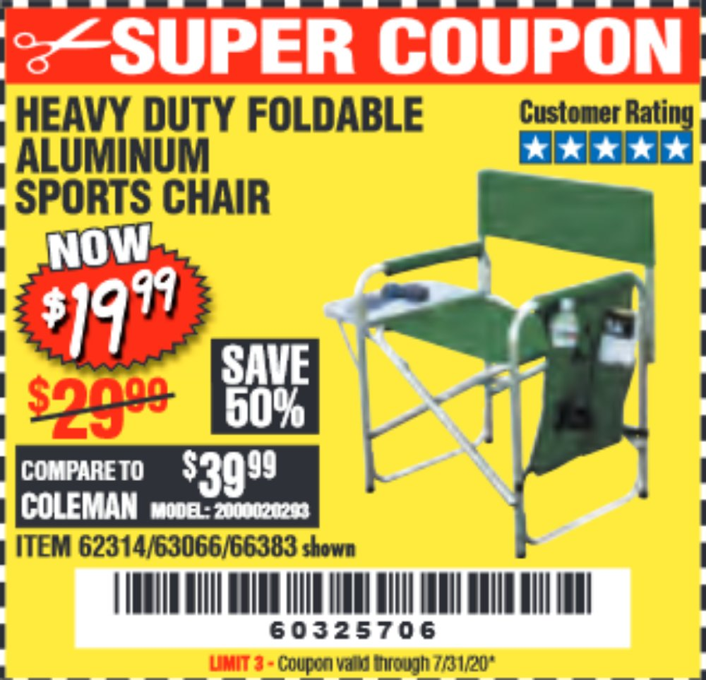 Harbor Freight Coupon, HF Coupons - Foldable Aluminum Sports Chair