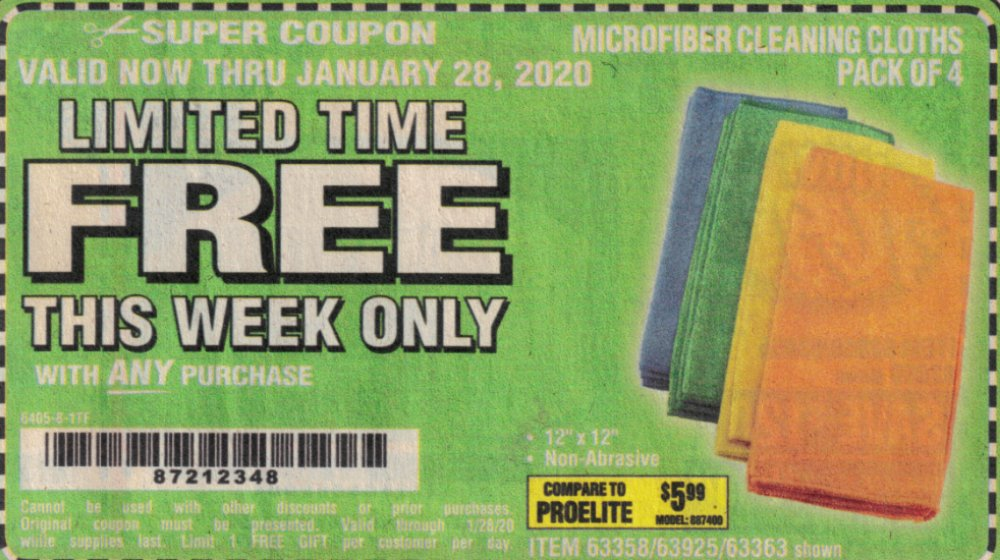 Harbor Freight Coupon, HF Coupons - FREE - Microfiber Cleaning Cloths Pack Of 4