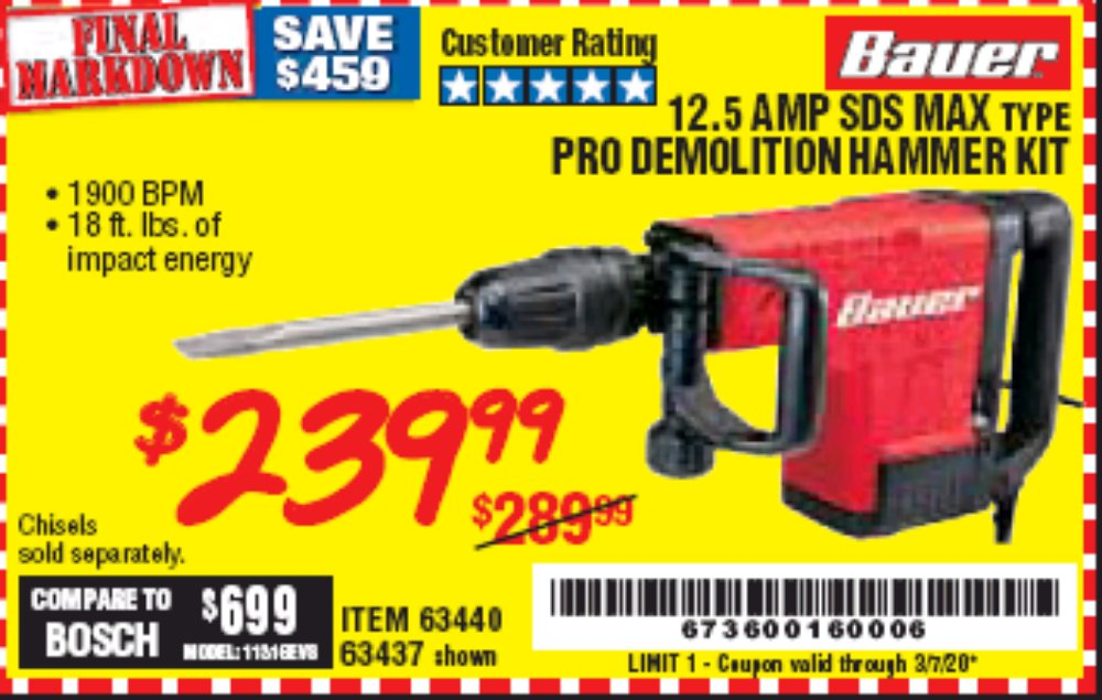 Harbor Freight Coupon, HF Coupons - 12.5 Amp Sds Max. Type Pro Demolition Hammer Kit