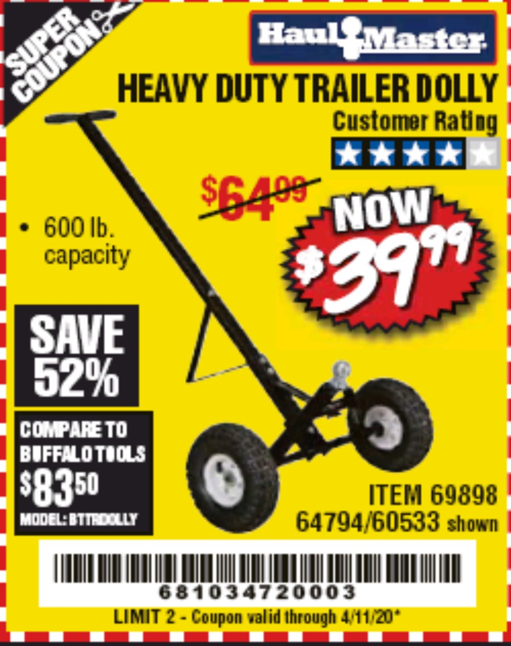 Harbor Freight Coupon, HF Coupons - Heavy Duty Trailer Dolly