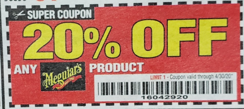 Harbor Freight Coupon, HF Coupons - 20% off for any Meguiars product