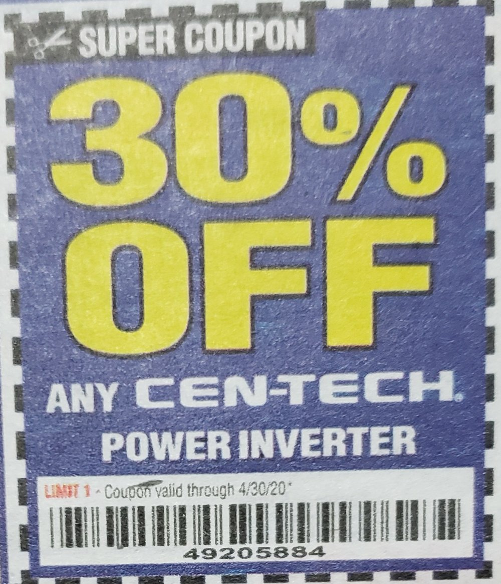 Harbor Freight Coupon, HF Coupons - 30% off for any CEN-TECH POWER INVERTER