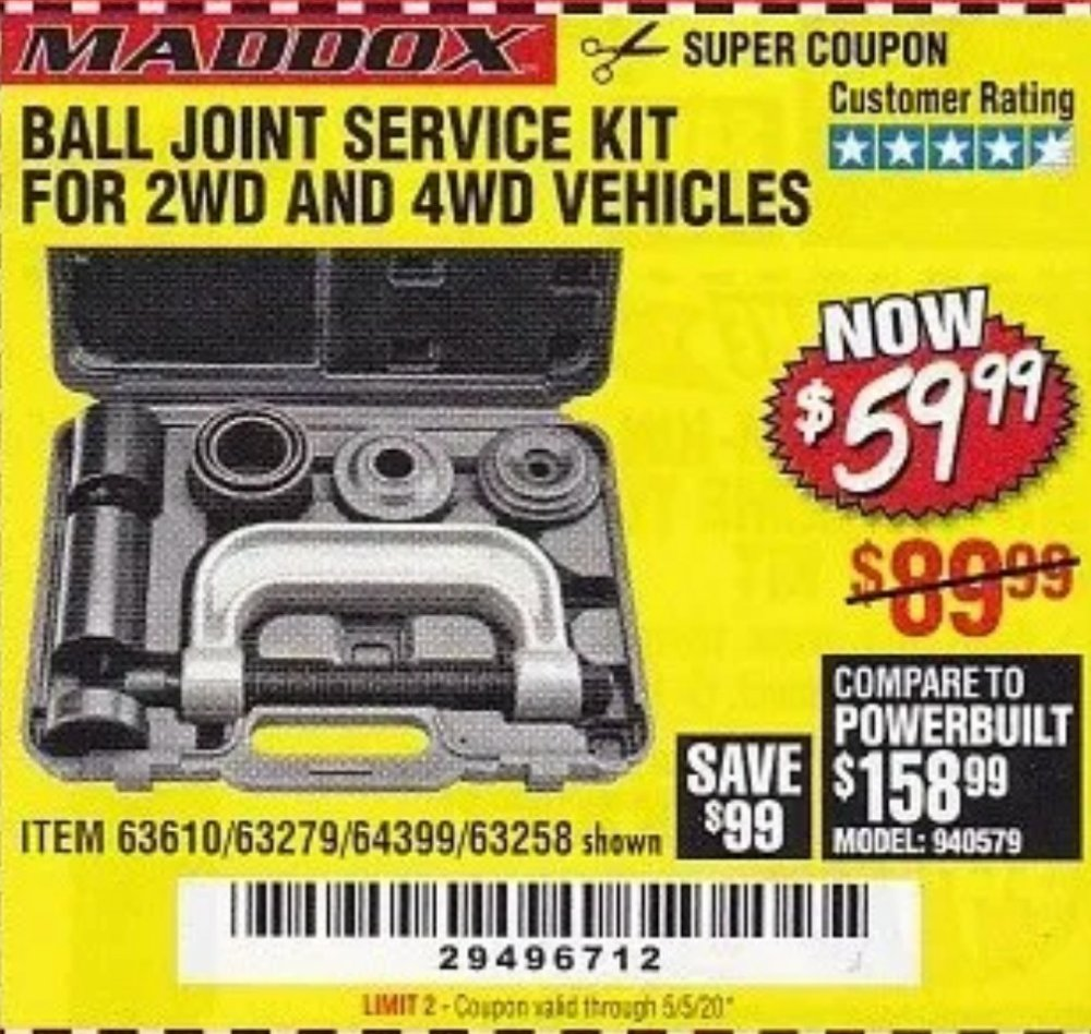 Harbor Freight Coupon, HF Coupons - Ball Joint Service Kit For 2wd And 4wd Vehicles