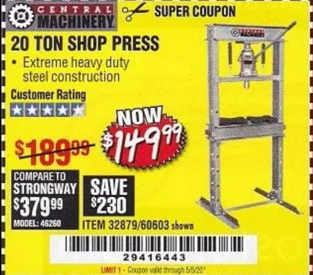 Harbor Freight Coupon, HF Coupons - 20 Ton Shop Press
