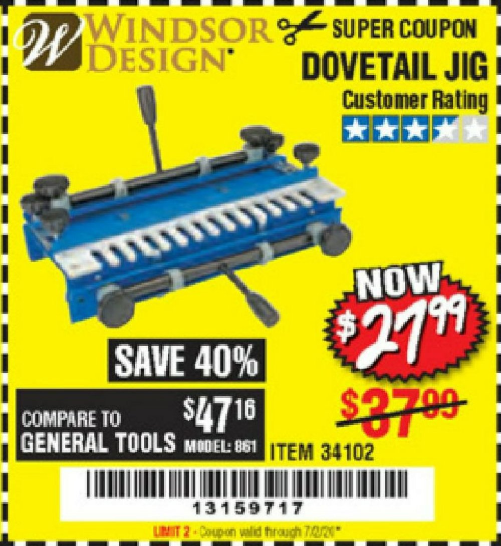 Harbor Freight Coupon, HF Coupons - Dovetail Jig / Machine