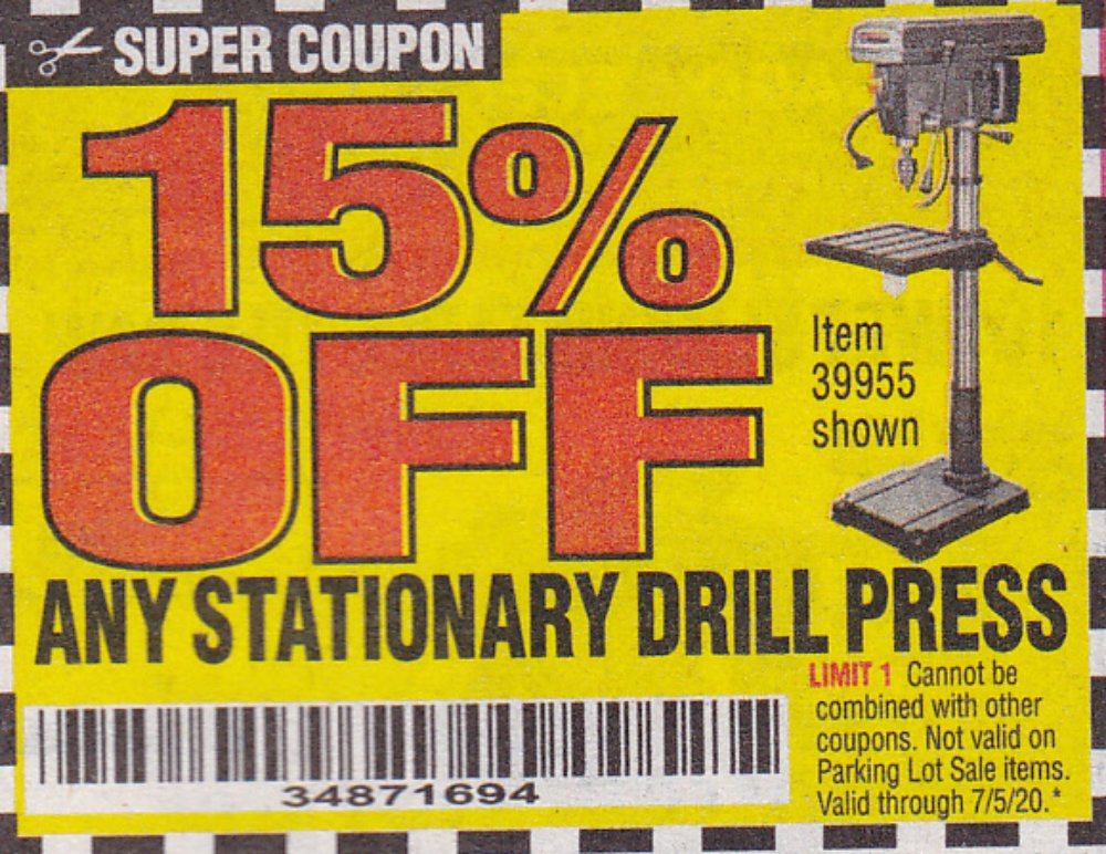 Harbor Freight Coupon, HF Coupons - 15% off for any stationary drill press, item 39955