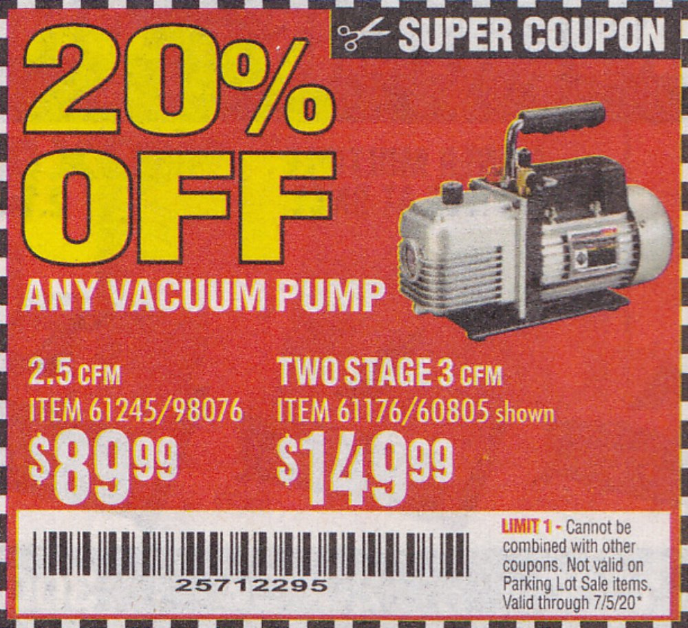 Harbor Freight Coupon, HF Coupons - 20% off for any vacuum pump,item61245,98076,61176,60805