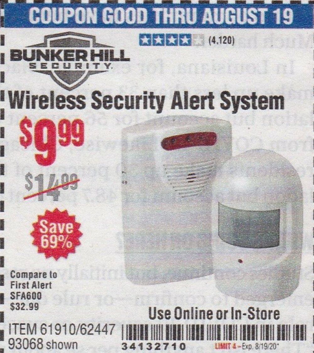 Harbor Freight Coupon, HF Coupons - Wireless Security Alert System
