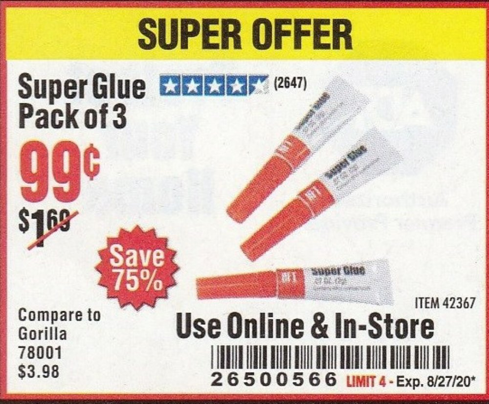 Harbor Freight Coupon, HF Coupons - Super Glue Pack Of 3