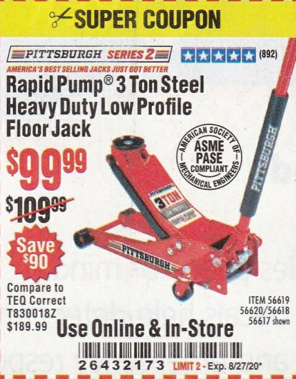 Harbor Freight Coupon, HF Coupons - Rapid Pump 3 Ton Steel Heavy Duty Low Profile Floor Jack