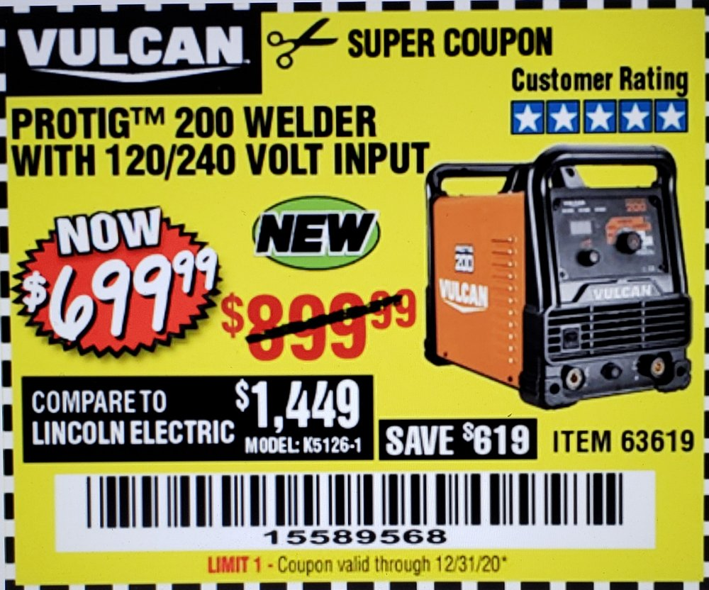 Harbor Freight Coupon, HF Coupons - Vulcan Protig 200 Welder With 120/240 Volt Input