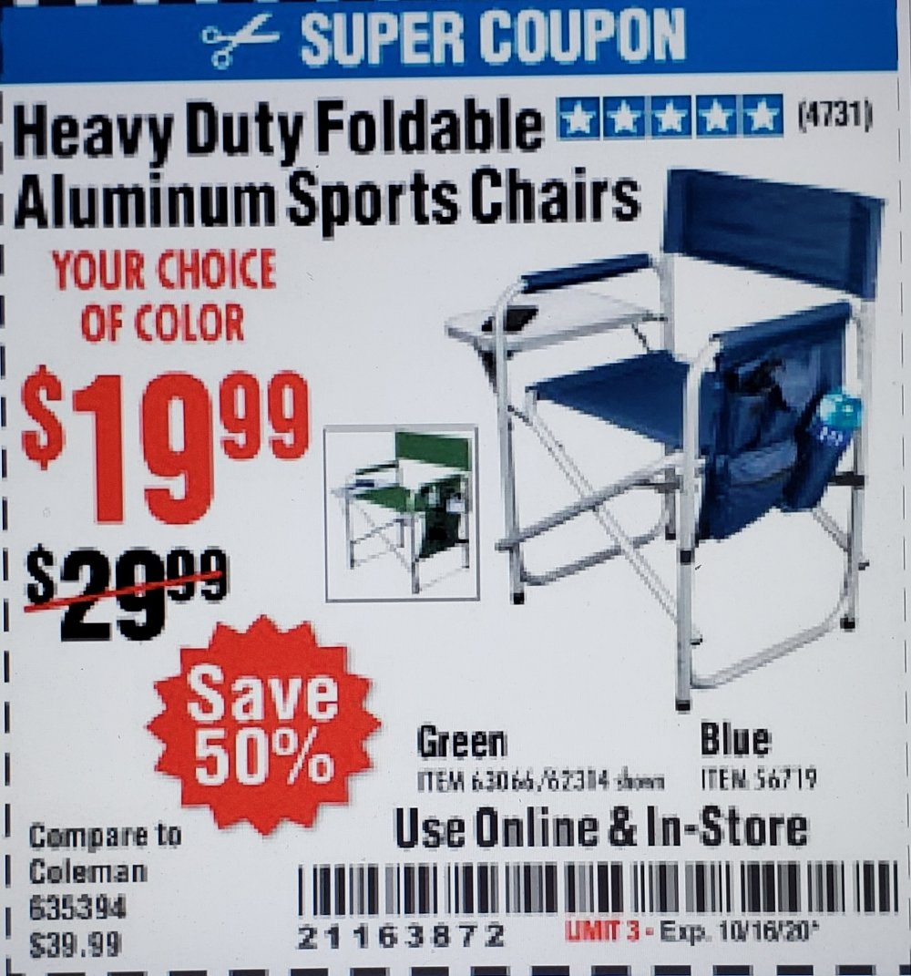 Harbor Freight Coupon, HF Coupons - Foldable Aluminum Sports Chair for $19.99