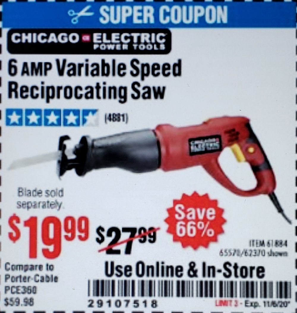 Harbor Freight Coupon, HF Coupons - 6 Amp Heavy Duty Reciprocating Saw