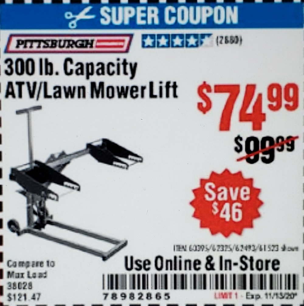 Harbor Freight Coupon, HF Coupons - Atv/lawn Mower Lift