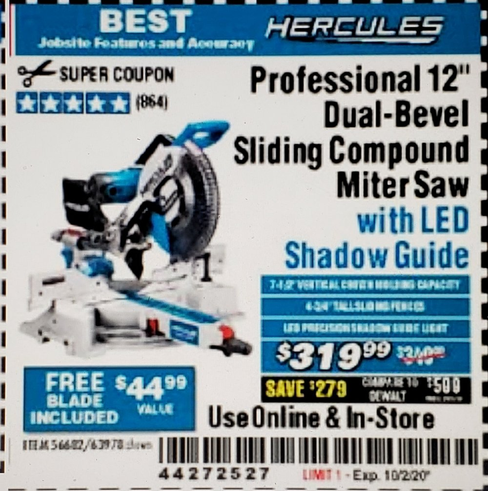 Harbor Freight Coupon, HF Coupons - HERCULES 12 in. Dual-Bevel Sliding Compound Miter Saw with Precision LED Shadow Guide for $329