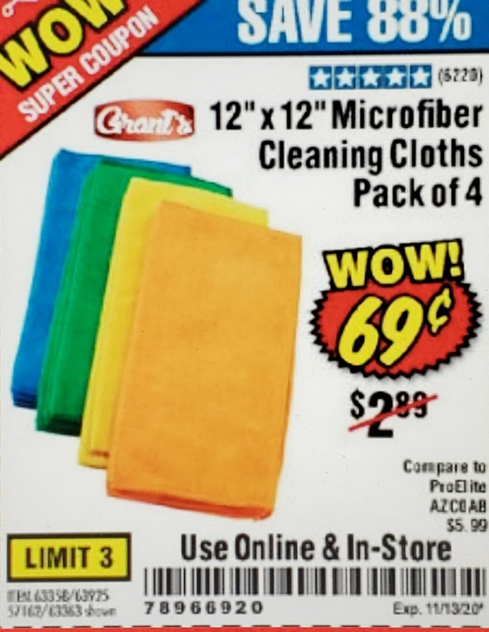 Harbor Freight Coupon, HF Coupons - WOW Super Coupon! 69� Microfiber Cleaning Cloths