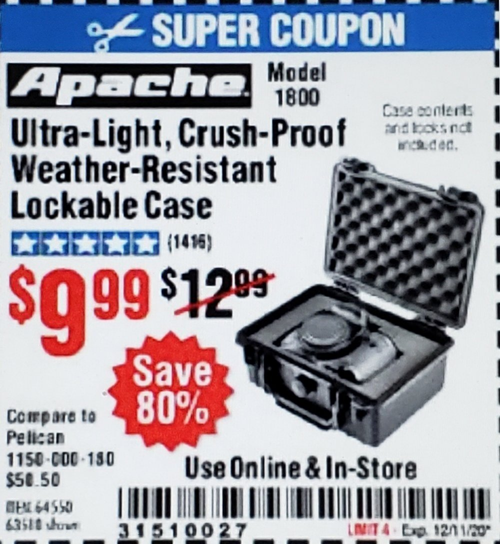 Harbor Freight Coupon, HF Coupons - Apache 1800 Weatherproof Protective Case