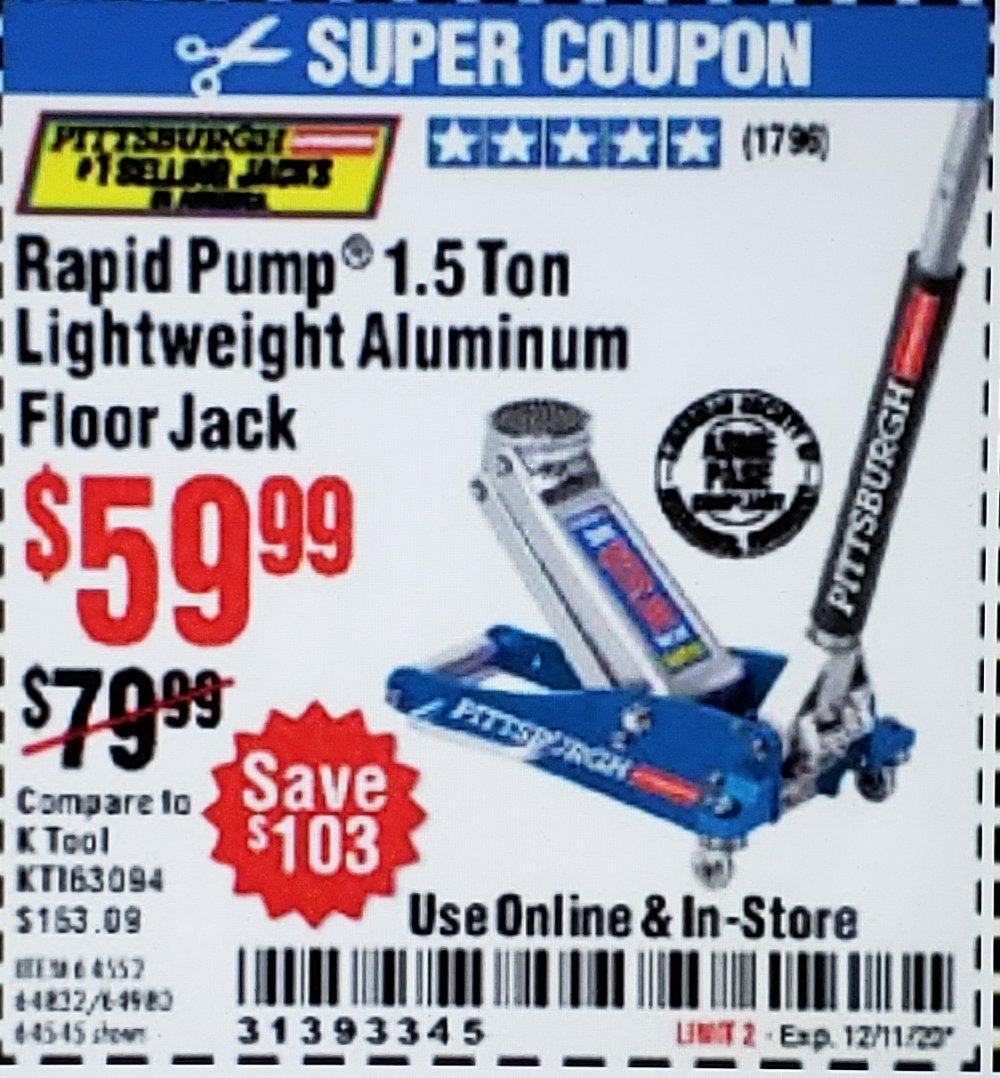 Harbor Freight Coupon, HF Coupons - Pittsburgh Rapid Pump 1.5 Ton Lightweight Aluminum Floor Jack