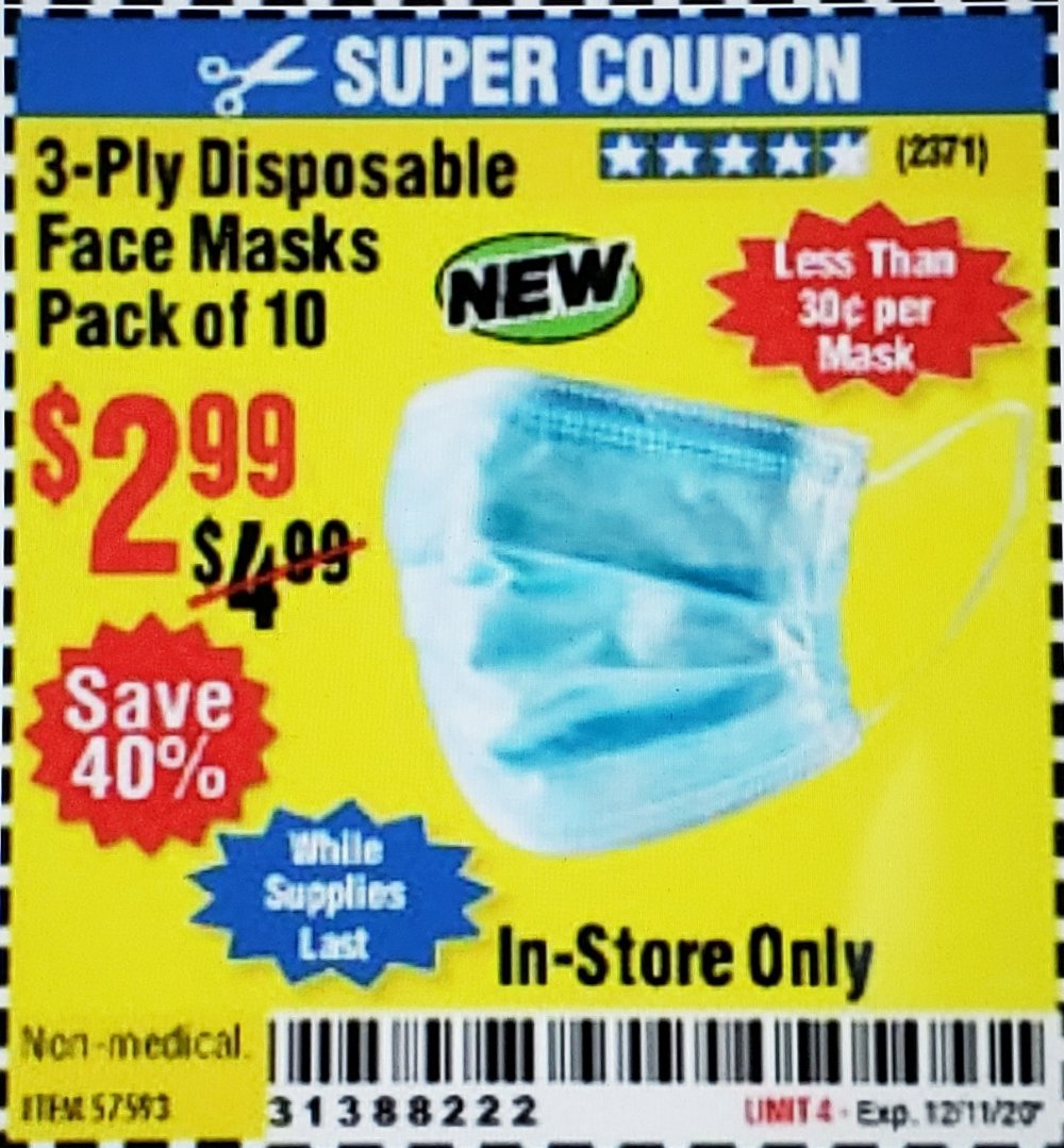Harbor Freight Coupon, HF Coupons - 3-Ply Disposable Face Masks