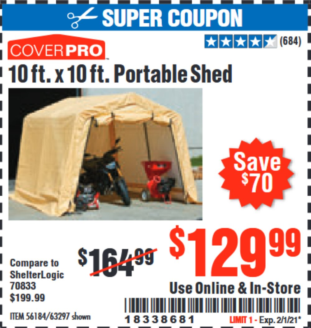 Harbor Freight Coupon, HF Coupons - Coverpro 10 Ft. X 10 Ft. Portable Shed