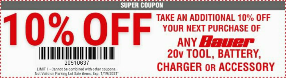 Harbor Freight Coupon, HF Coupons - 10% off for any Bauer 20v tool, battery,charger and accessory
