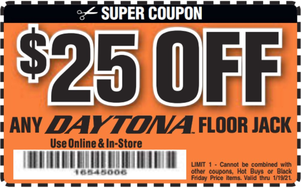 Harbor Freight Coupon, HF Coupons - $25 offfor any DAYTONA floor jack