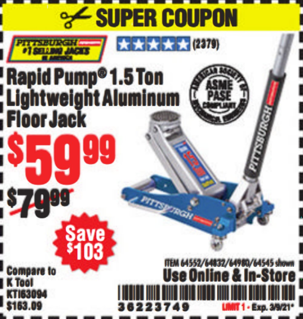 Harbor Freight Coupon, HF Coupons - Pittsburgh Rapid Pump 1.5 Ton Lightweight Aluminum Floor Jack