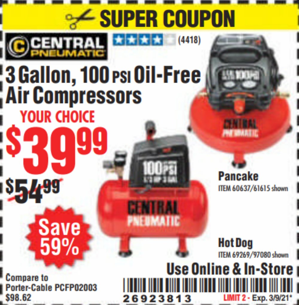 Harbor Freight Coupon, HF Coupons - 3 Gallon 100 Psi Oilless Hot Dog Style Air Compressor
