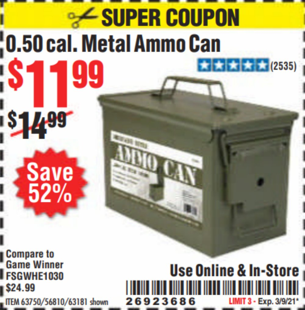 Harbor Freight Coupon, HF Coupons - .50 Cal Metal Ammo Can for $9.99