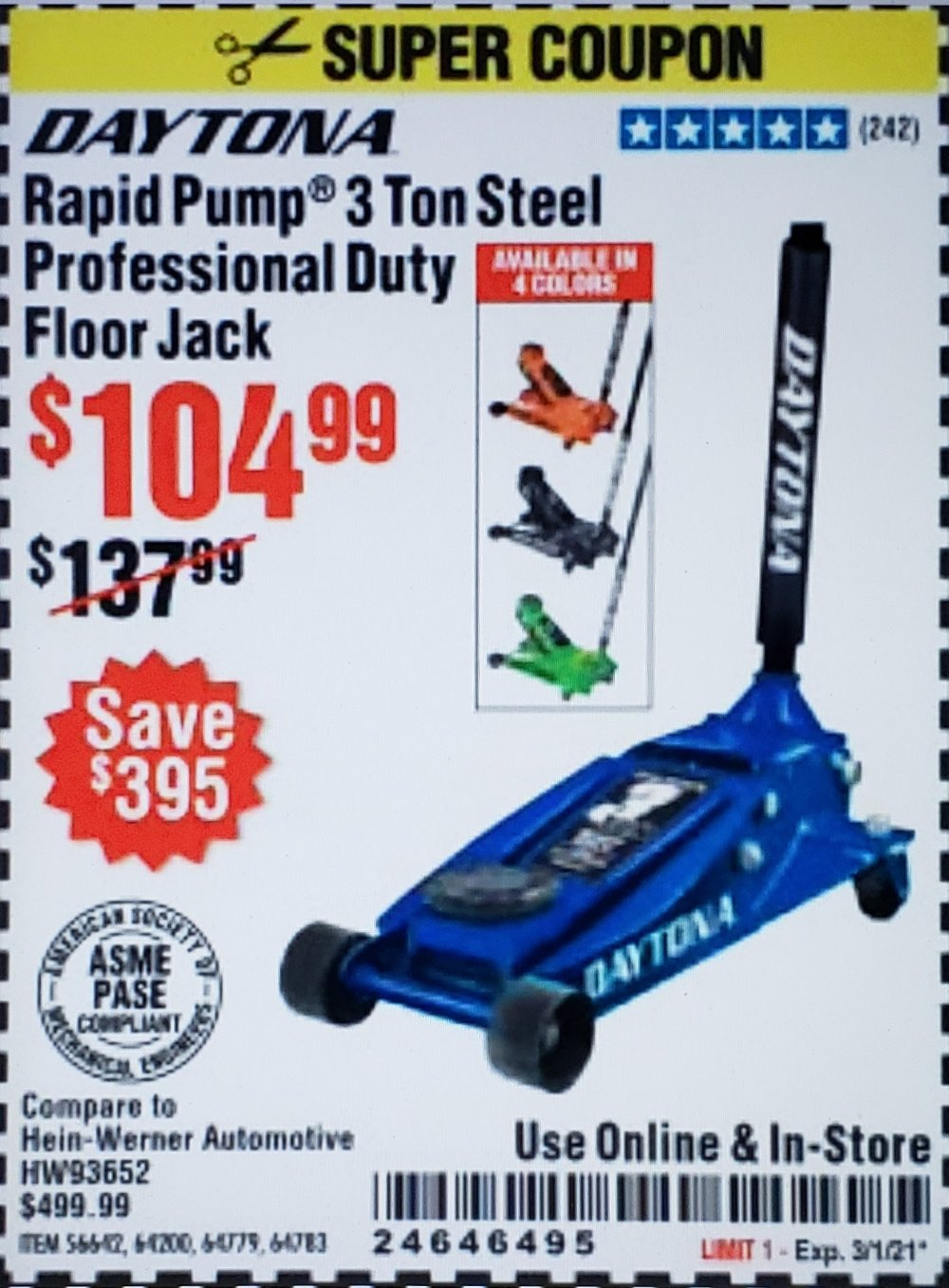 Harbor Freight Coupon, HF Coupons - Daytona 3 Ton Heavy Duty Floor Jack
