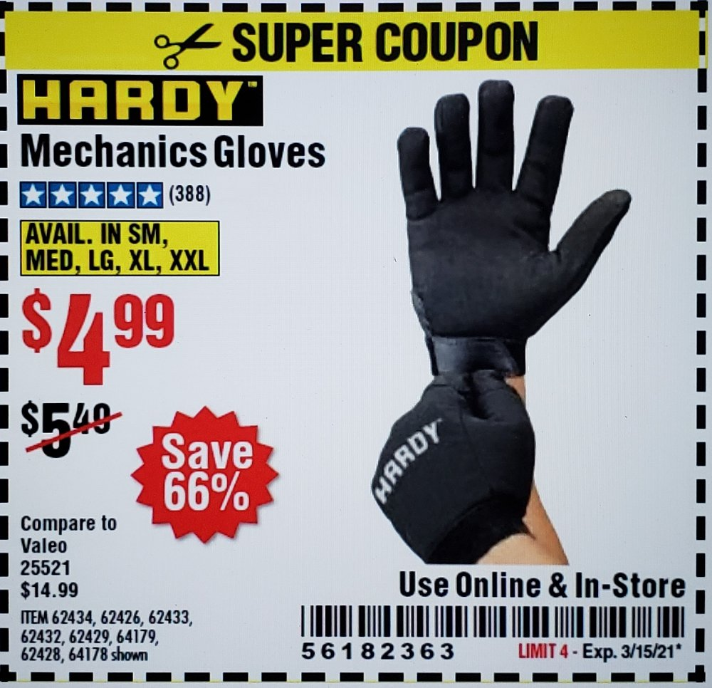 Harbor Freight Coupon, HF Coupons - Mechanic's Gloves