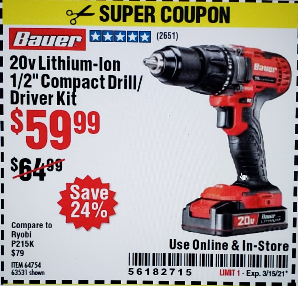 Harbor Freight Coupon, HF Coupons - Bauer 20 Volt Lithium Cordless 1/2