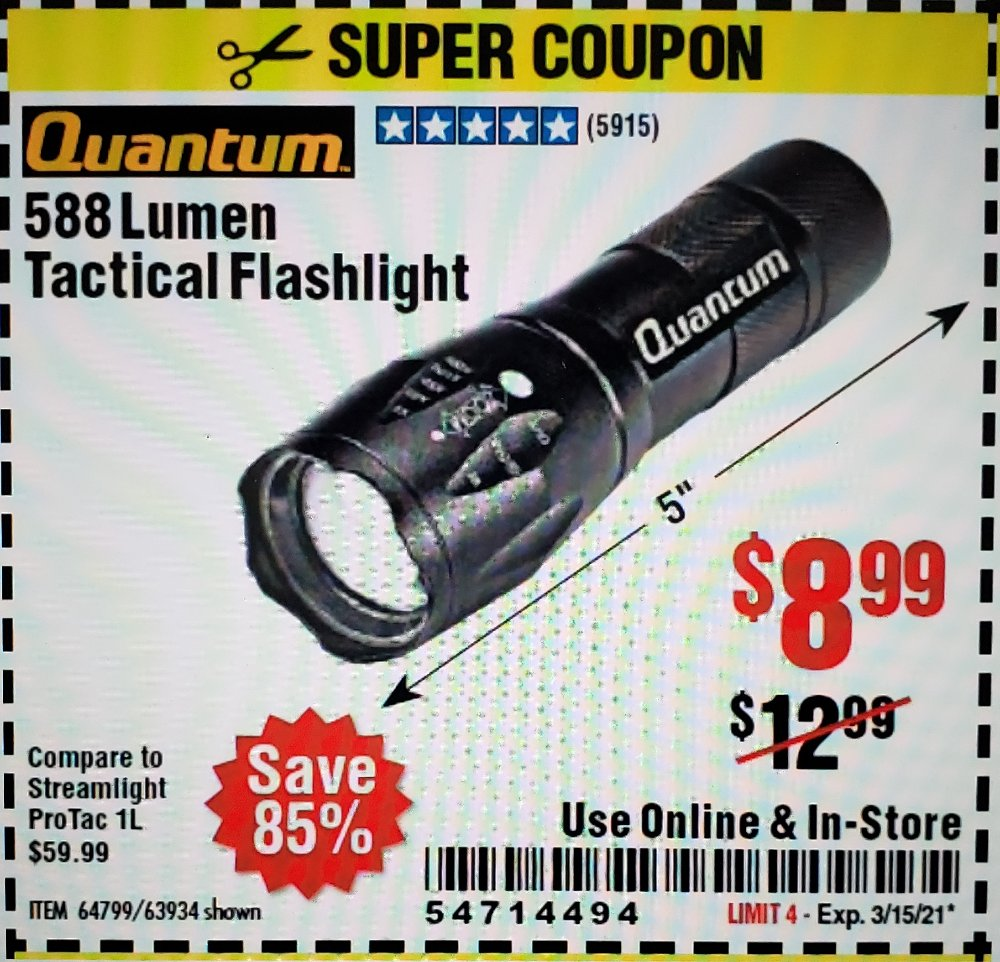 Harbor Freight Coupon, HF Coupons - 310 Lumen Adjustable Headlamp/588 Lumen Tactical Flashlight
