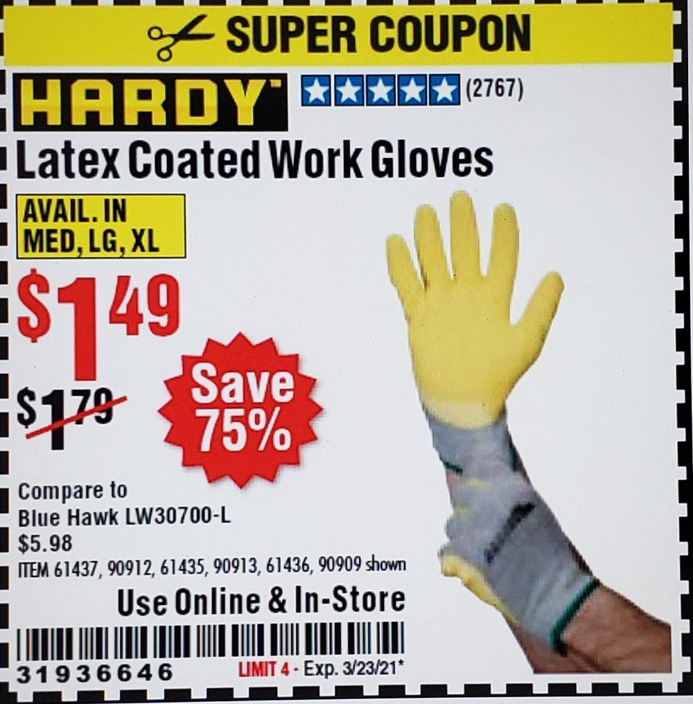 Harbor Freight Coupon, HF Coupons - Hardy Latex Coated Work Gloves