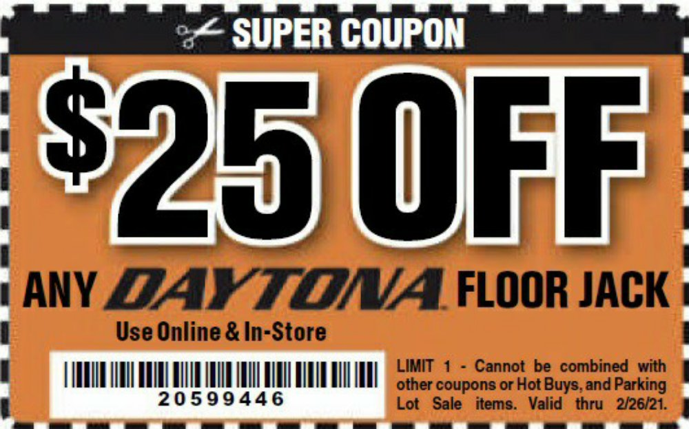 Harbor Freight Coupon, HF Coupons - $25 off for any DAYTONA floor jack
