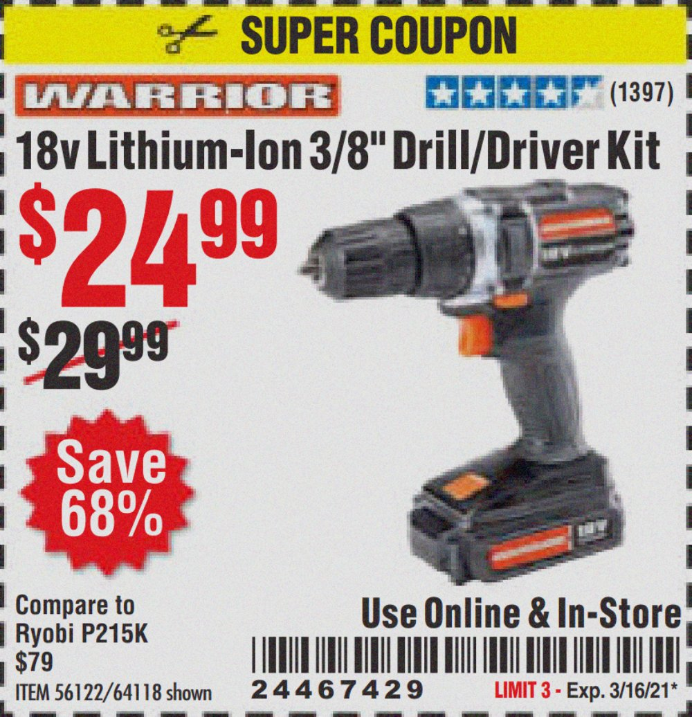 Harbor Freight Coupon, HF Coupons - 18v Lithium-Ion 3/8