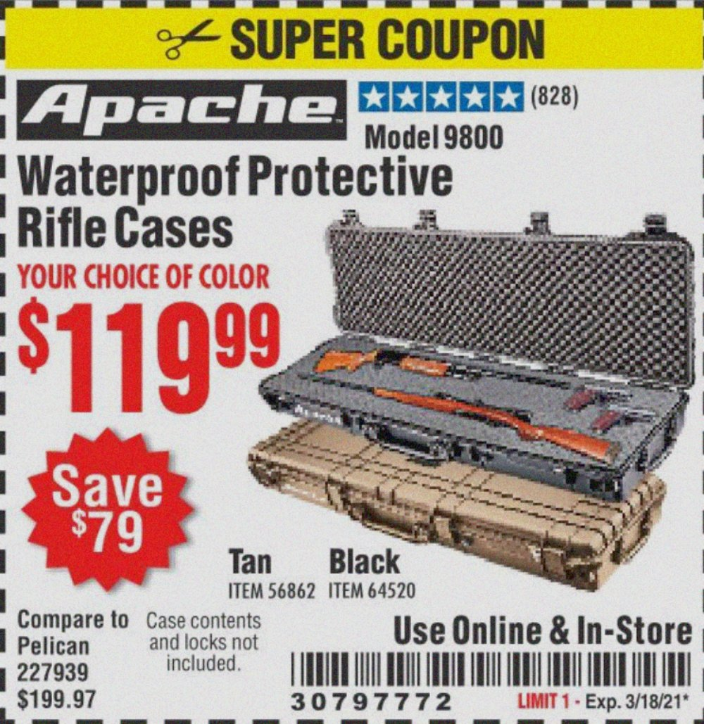 Harbor Freight Coupon, HF Coupons - Apache 9800 Weatherproof 13-1/2